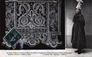 carte postale Normandy Lace maker 19th century